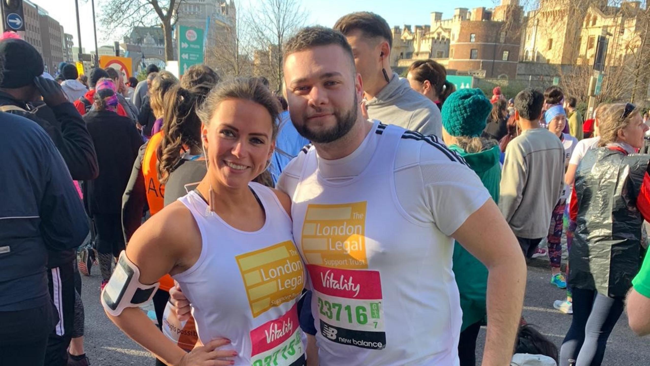 Olivia-May Appleby and Joshua Purser prepare to take on the Brighton Marathon